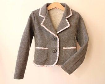 Girls blazer Toddler girls jacket Cotton Sweatshirt grey jacket Autumn blazer Girls clothes Toddler girl clothes