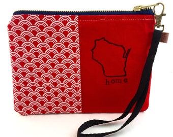 Wisconsin Home Hand Stamped Clutch / Wristlet / Handbag