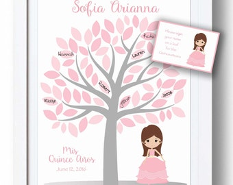 Quinceañera Guest Book 11x14 Sign-In Tree - Sweet 16 Guestbook Alternative - 75 leaves -READ DESCRIPTION-Other colors