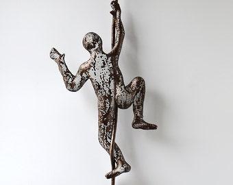 Rock climber, Climbing Figure on the rope, Metal art, sports decor, decorative art, 3d wall sculpture