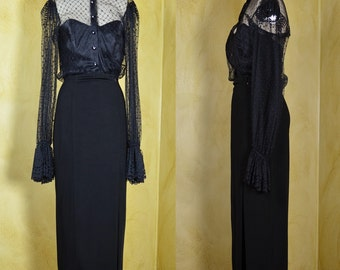 1980s Tadashi Glam Goth Black Dress in Lace & Knit with Bustier and Rhinestone Buttons