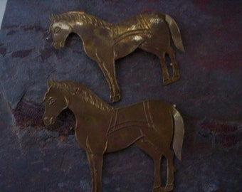 Vintage Salvage rustic metal/Salvage metal appliques/Salvage Brass horse appliques/brass hardware appliques/assemblage & attered art supply