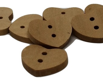 10 Heart Buttons Wood Two Hole Lightly Lacquered 18x15mm  Pack of 10