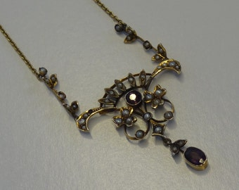 10k Yellow Gold Seed Pearl and Amethyst Pendant Necklace ~ Victorian to Edwardian