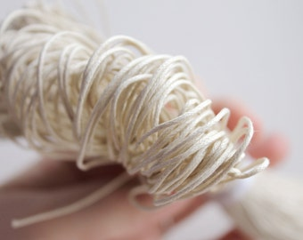 Off White  Wax Cotton Cord 1 mm 10 meters - 10,9 yards or 32,8 feet