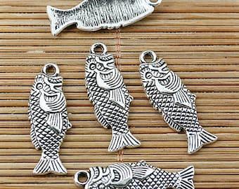 24pcs Tibetan silver cute fish charms EF1688
