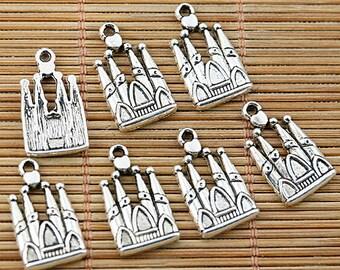 30pcs tibetan silver tone castle design charms EF1763