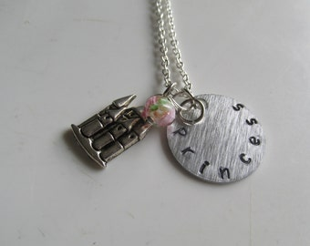 Princess Necklace, Stamped Necklace, Girl's Necklace