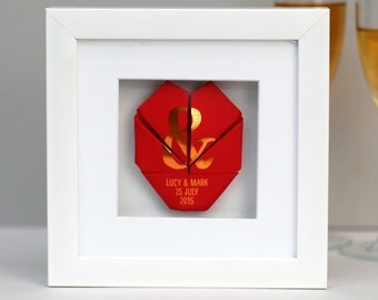 Origami Heart Frame/ Anniversary Gift/ Framed Gift/ Gift for Couple/ Gift for Girlfriend/ Gift for Husband/ Cute Birthday Gift