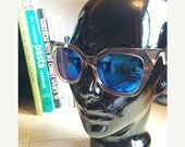 LOVE U SALE Deadstock Clear Pointed Cat eye frame blue mirror lens Sun Glasses