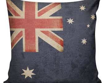 Throw Pillow Cover - Vintage Australian Flag Cotton Front with Cotton or Burlap Back Home Decor #FL0060 Elliott Heath Designs