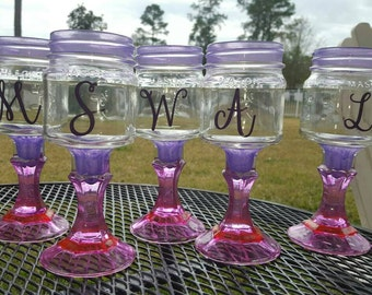 Monogrammed Mason Jar Wine Glass - Colored Glass - Coral and Purple - ONE GLASS - Weddings - Bachelorette Glasses - Wedding Glass