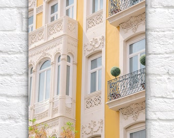 Spanish Yellow, Valencia Architecture, Chic Balcony, European Travel Photography Print, Pastel Yellow, Green, Ivory, Gender Neutral Colors