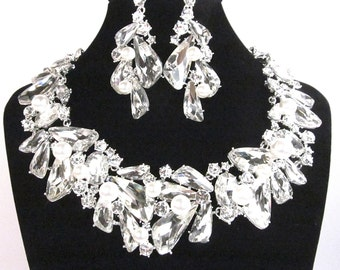 Crystal Pearl Bridal Statement Necklace, Pearl Crystal Wedding Necklace Set,  Crystal Evening Necklace - E 15
