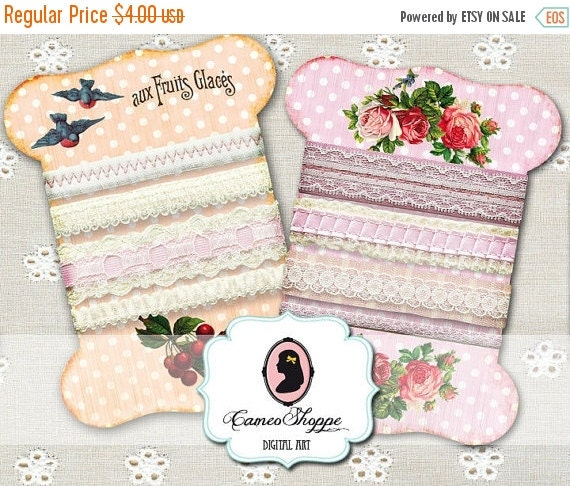75% OFF SALE LACE Holders Shabby chic No 03 Digital Collage Sheet Digital Scrapbooking Digital download