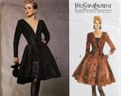 """Cocktail Dress & Camisole by Yves Saint Laurent  -1990's - Vogue Paris Original Pattern 1016  Uncut   Sizes 6-8-10  Bust 30.5-31.5-32.5"""""""