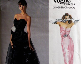 Evening Dress by Bellville Sassoon -1980's- Vogue Pattern 1853  Uncut  Sizes 10 or 16