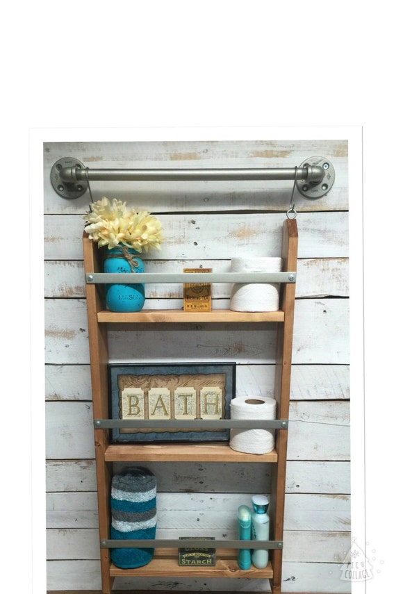 Ladder Shelf Rustic Bathroom Shelf Ladder By Countrycornergoods