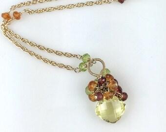 Lemon Quartz, Citrine, Peridot and Garnet Gemstone Cluster necklace