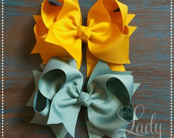 Hair bows-made to match Matilda jane-or choose your own-hair bows for girls-bows with short spikes-