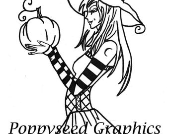 The Pumpkin Witch digital stamp by Lee Seed