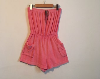 70s pink strapless romper, terry cloth jumpsuit with cinched waist, small - vintage -