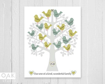 Personalised Family Tree Print, Retro Modern Bird, Anniversary Gift, 8x10, Grey Blue Green, Christmas Gift for Parents, Grandparents Gift