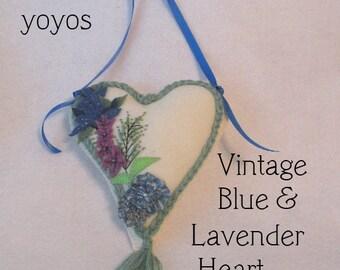 LAVENDER and BLUEBELLS  HEART Embellished Felt Door Hanger Pincushion Ornament Home Décor Gift Item