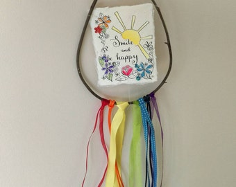 Smile and be happy wall hanging, dream catcher style. papercut/mixed media original art.
