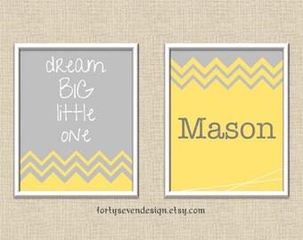 Dream Big Little One - Yellow & Gray Chevron Custom Name Printable Wall Art 8x10