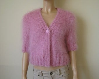 ready to ship ! New Hand Knitted Mohair Bolero Sweater Shrug size M Pink