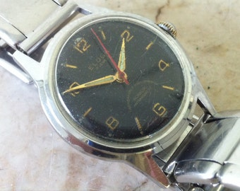 Vintage Men's Watch, Eloga Swiss Watch, Black Dial, 17 Jewels, Military Style, Wrist Watch. Circa 1940s, Red Sweep Second Hand, Runs Great