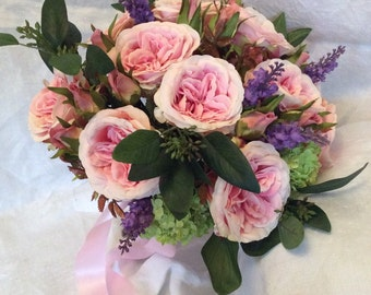 Artificial Garden Pink Cabbage Roses Lavender Summer Bouquet