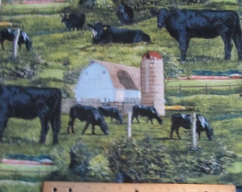 Black Angus Beef Cow/Farm Cotton Fabric by the Yard