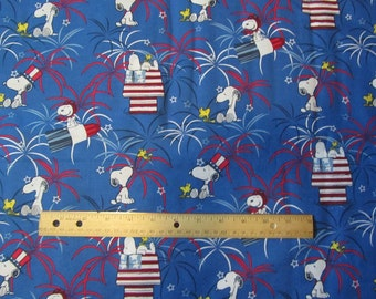 Patriotic Red/White and Blue Snoopy/Woodstock Fire Works Cotton Fabric by the Half Yard