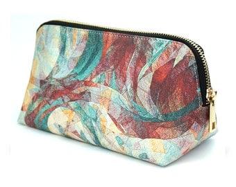 """Make up bag / cosmetic bag / pencil case - Vegan leather limited edition artist designed bag """"Rapt"""" marble multicoloured"""