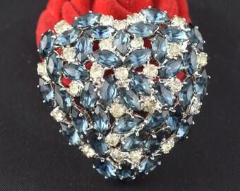 Vintage Rhinestone Brooch Puffed Heart Prong Set Stones ~ Lot 348