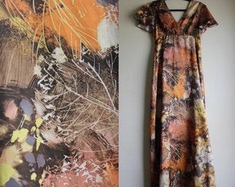 Earthy 1970s Long Hawiian Dress