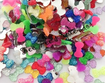 100 pc -MINI Bow Flatback resin- Miniature bow Rhinestone - Nail Art Cabochon- *US Seller* Assorted mix gem bow- Sparkling bow- Faux gem
