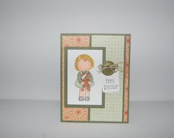 Feel Better Teddy Bear Card-Green