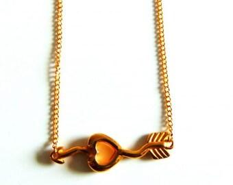Gold Heart & Arrow Pendant