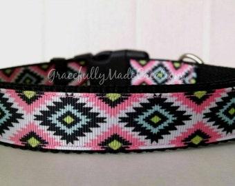 Aztec Dog Collar - Adjustable Dog Collar - Tribal Dog Collar - Southwest Dog Collar