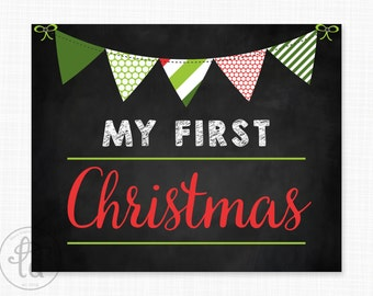"My First Holiday 8"" x 10"" Signs - Photo Props - Printable - INSTANT DOWNLOAD"