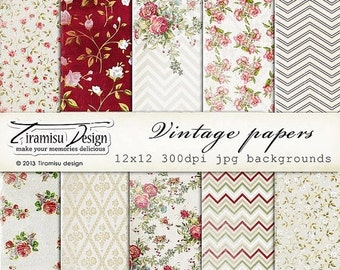 ON SALE Vintage Scrapbook Papers and Digital Paper Pack 17