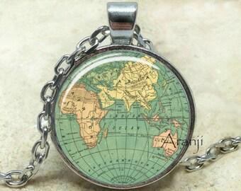 Globe art pendant, globe pendant, globe pendant, atlas necklace, map jewelry, vintage globe necklace, map, antique globe, Pendant#HG189P