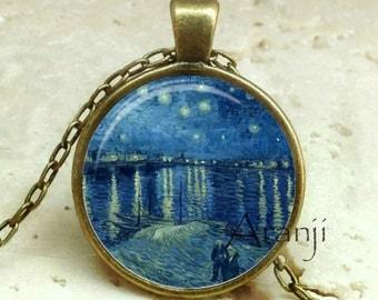 Vincent Van Gogh Starry Night Over the Rhone Pendant, Van Gogh pendant, Van Gogh necklace, Van Gogh, Pendant #AR119BR