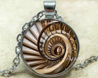Spiral staircase pendant, Spiral staircase necklace, Spiral pendant, Stairway pendant, Spiral necklace, Pendant #PA105P