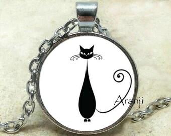 Nigel the cat art pendant, cat pendant, cat necklace, cat jewelry, black cat necklace, black cat pendant, black cat jewelry, Pendant #AN109P