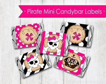 Pink Pirate Mini Candy Bar Wrappers - Instant Download