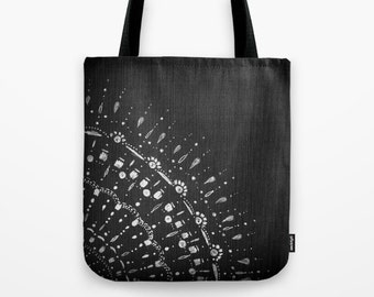 Black and White Tote Bag, black tote bag, black and white bag, black white tote, lace tote bag, small black bag, large black bag